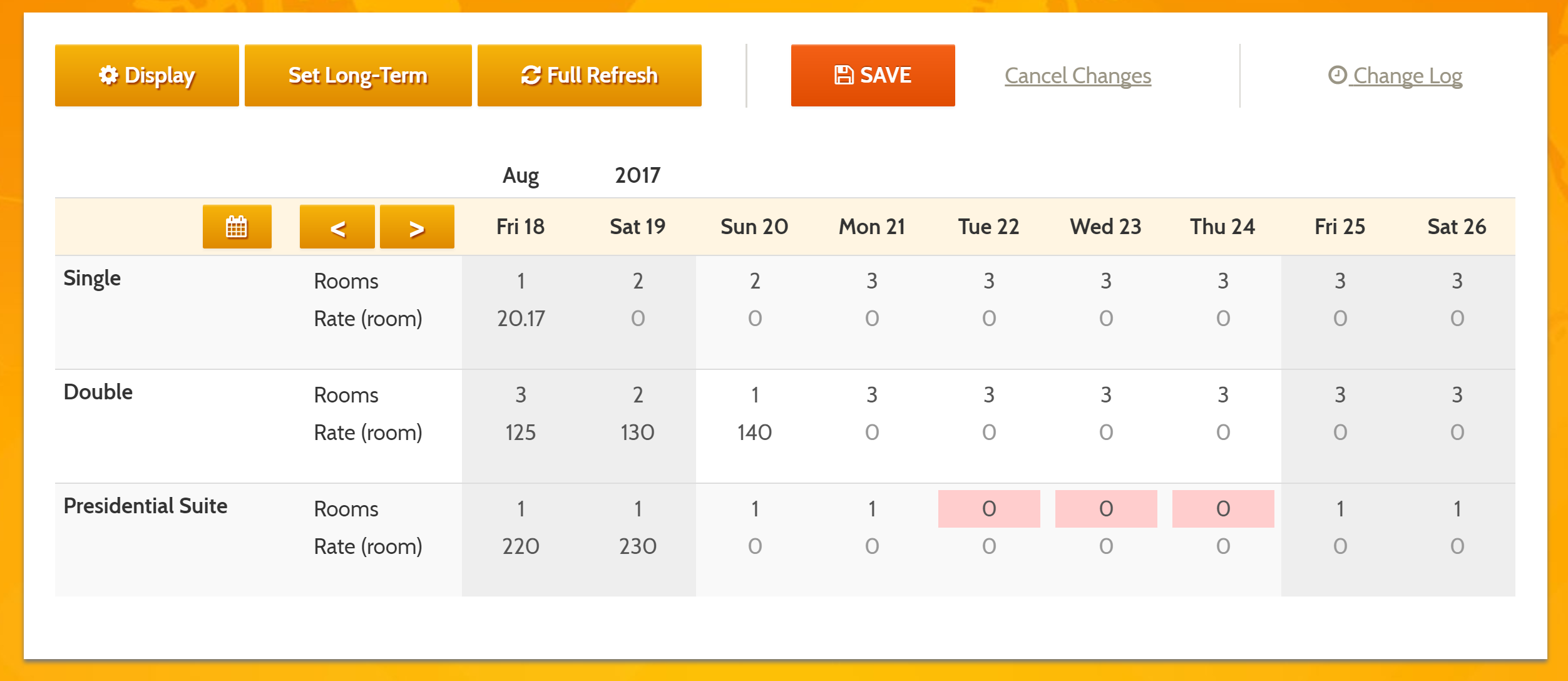 MyAllocator Calendar by Bellebnb.com calendar, with the BAR used in your Front Desk and Booking Engine along with the number of rooms available for each type for each date.