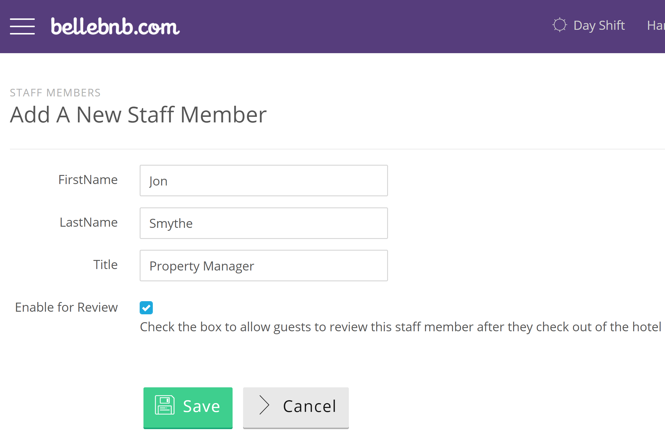 Hotel Staff' in the left navigation menu, then click 'Add a Staff Member.' Enter the staff member's name and check the box if you would like to enable them for review