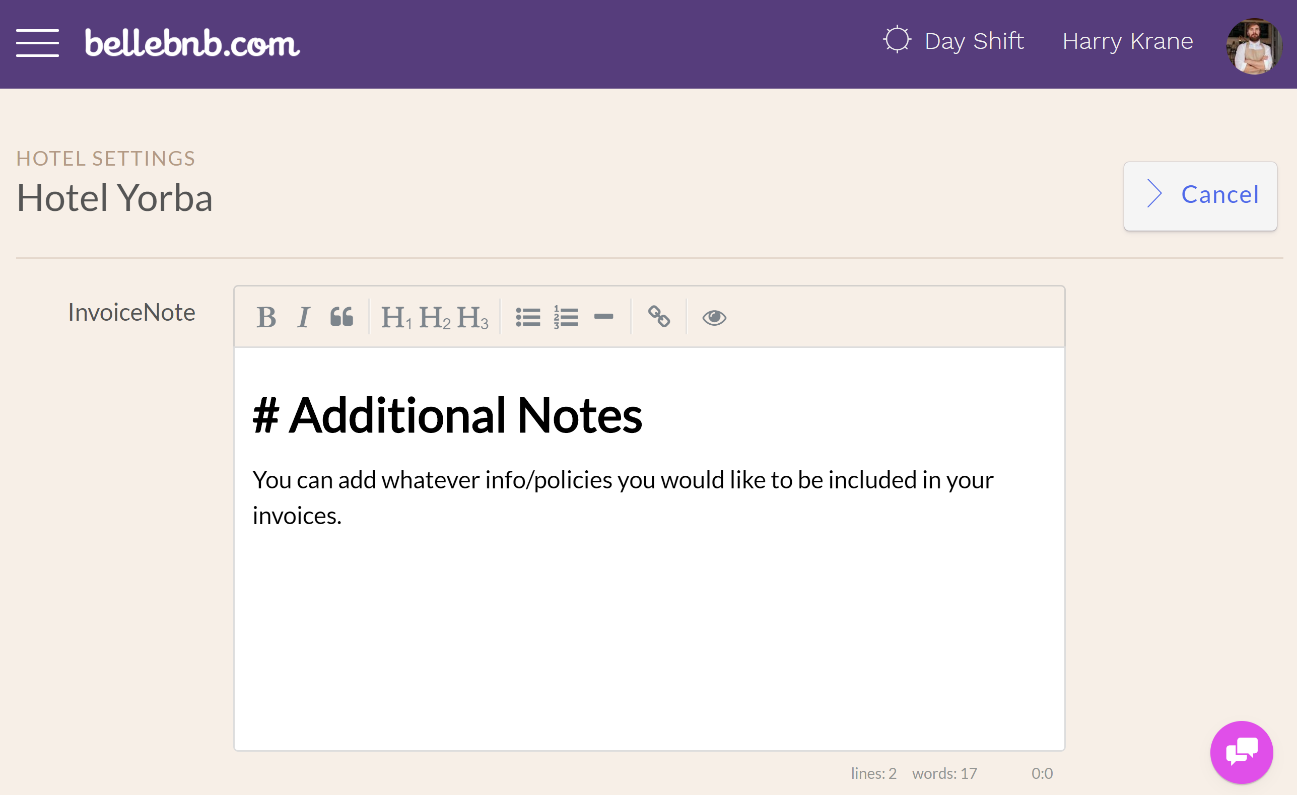Additional Hotel Notes: Go to 'Settings > Dashboard' and scroll down to the 'Additional Notes' panel.
